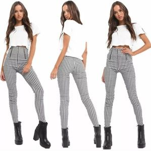 URBAN OUTFITTERS High-Waisted Checkered Pants